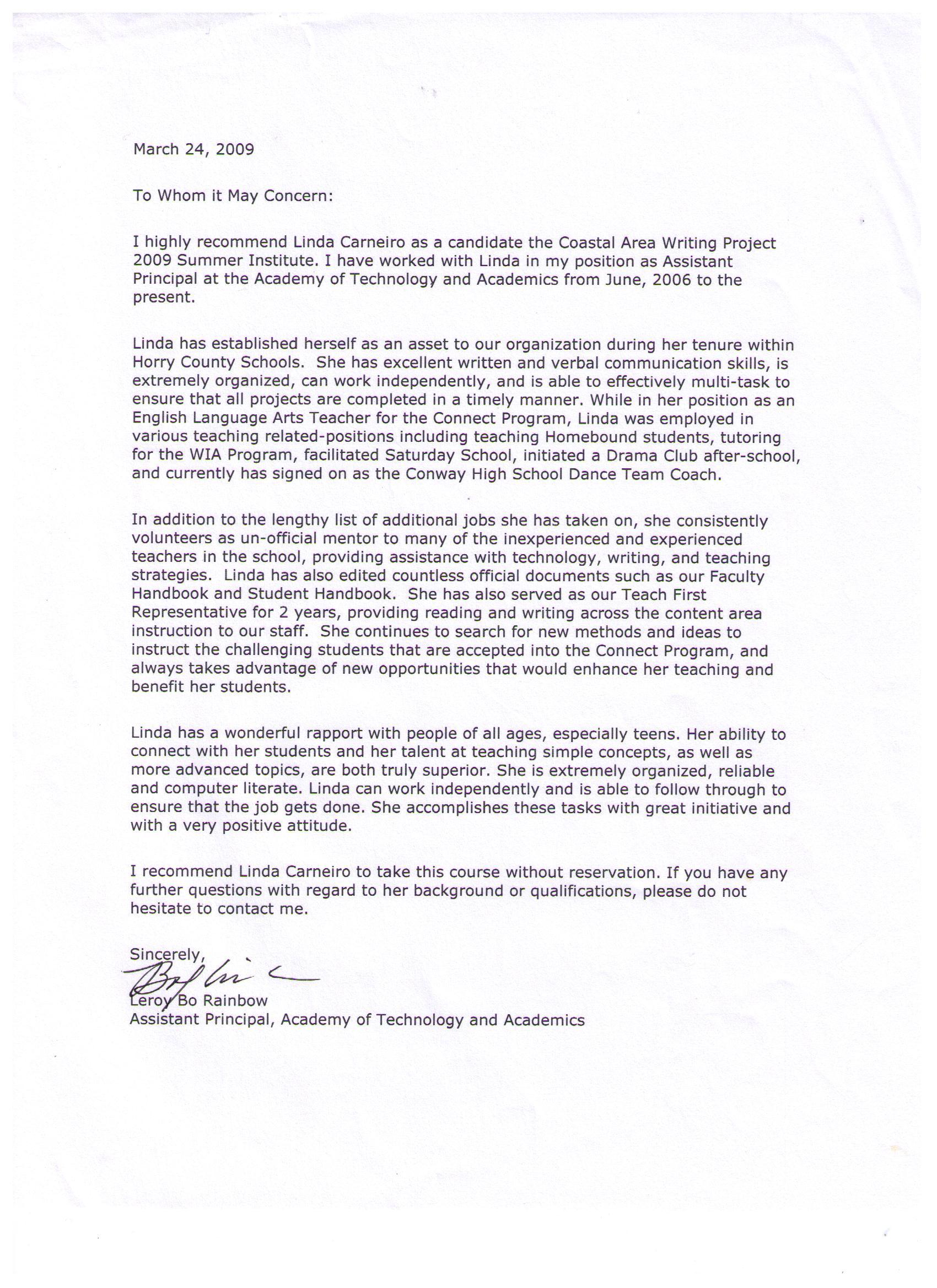 Recommendation letters linda carneiro aya english language arts download file negle Images
